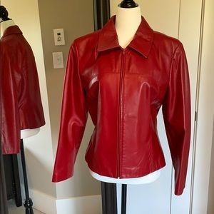 Danier red leather zippered jacket